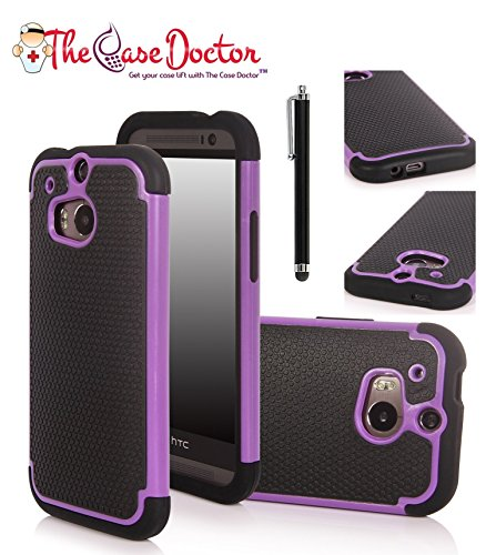 TCD New Purple & Black Executive Armor Defender High Impact Combo Hard Soft Gel Case Cover Skin Body for HTC One M8