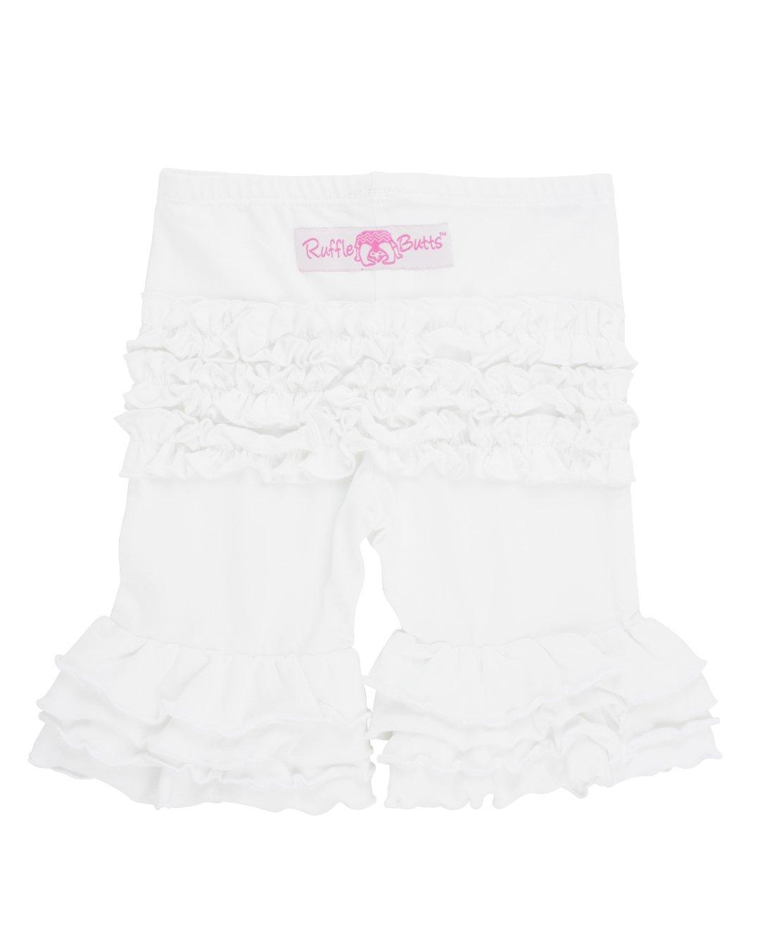 RuffleButts Little Girls Ruffled Bermuda Shorts - White - 5