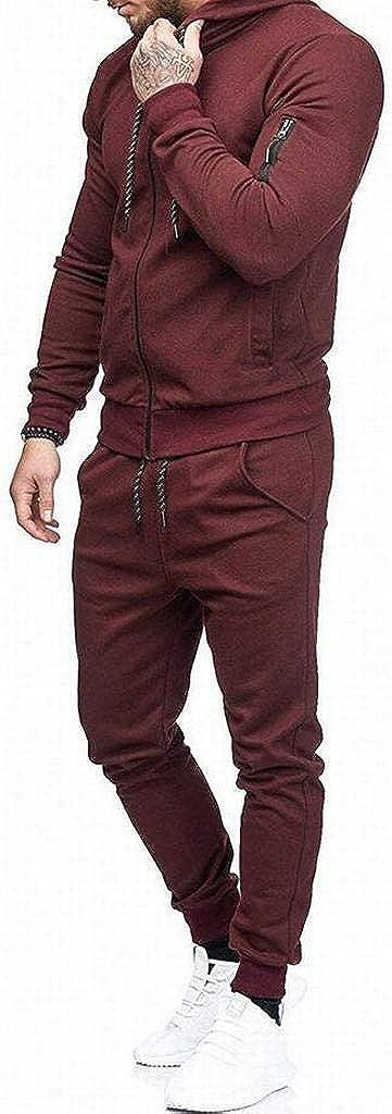 DFBB Mens Sport Zip Trim Casual Pants Trousers 2 PCS Suit Outfits Coat Tracksuit