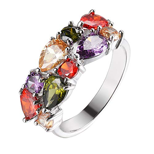 - HERMOSA Multi Gemstones Sets Plated Silver Peridot Amethyst Garnet Morganite(Ring)