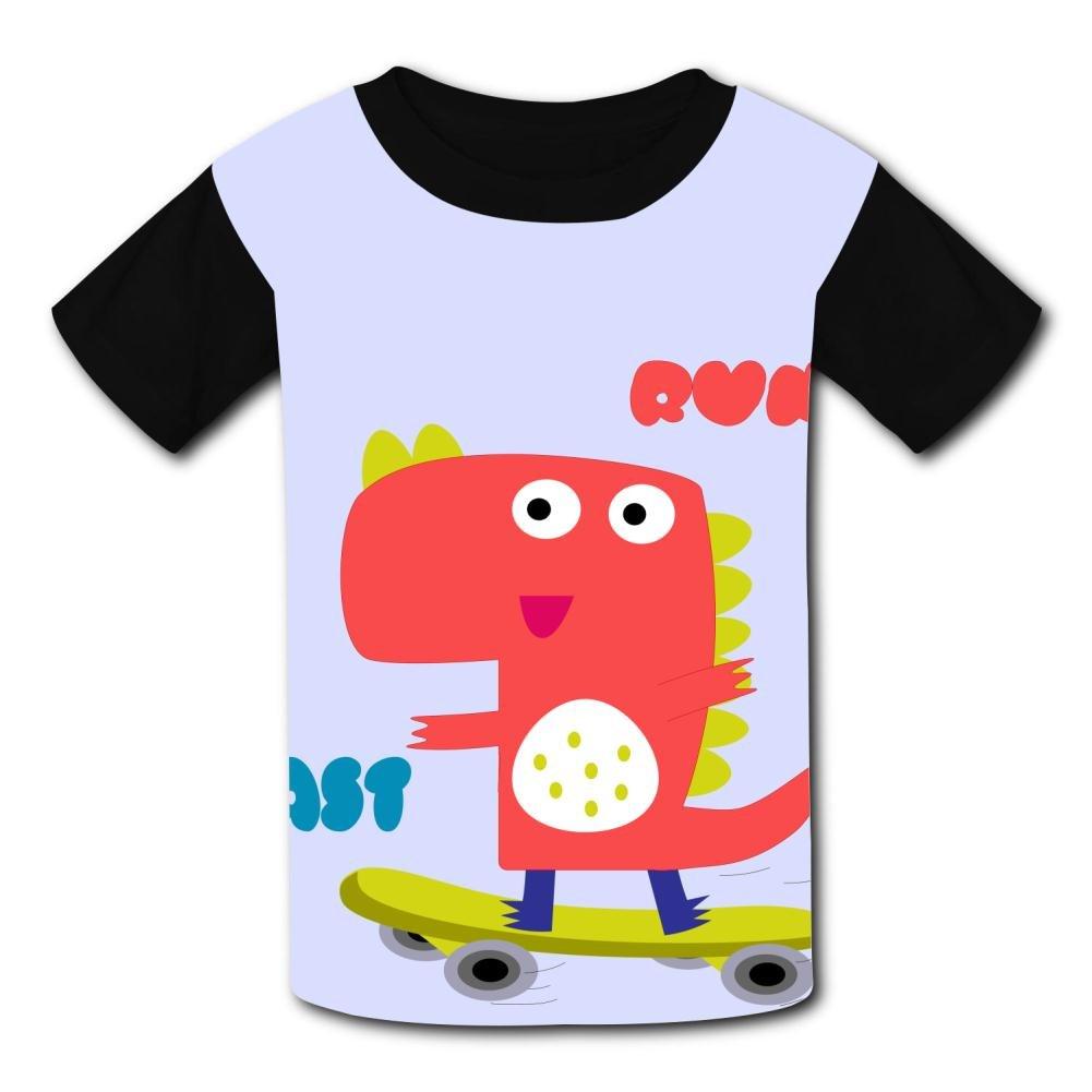 riverccc6.1500 Cute Dinosaur Run Fast Youth T-Shirt Boys Girls Tee