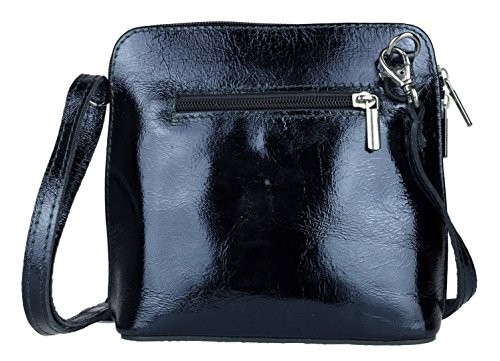 Girly Handbags - Bolso cruzados de Piel para mujer azul marino