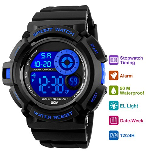 Mens Digital Sports Watch - 50M Waterproof Sport Military Watch with Alarm Wrist Watches for Men by EanTe