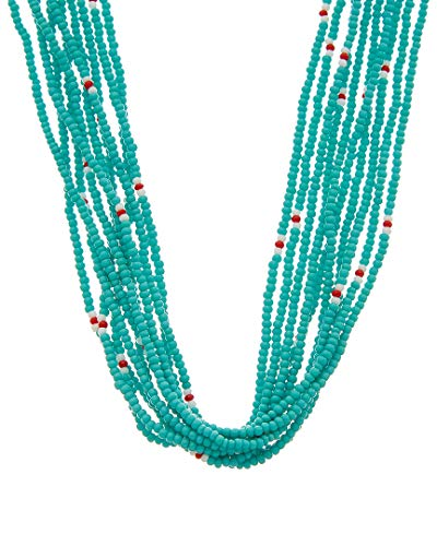 Chan Luu Women's 10 Strand Scattered Seed Bead Necklace New Turquoise One ()