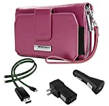 Sahara Women's Wristlet Clutch Wallet Purple Passion + Home & Car Charger + Lightning Cable for OPPO Find 7, 7a / R7, R1C, R5 Smartphones