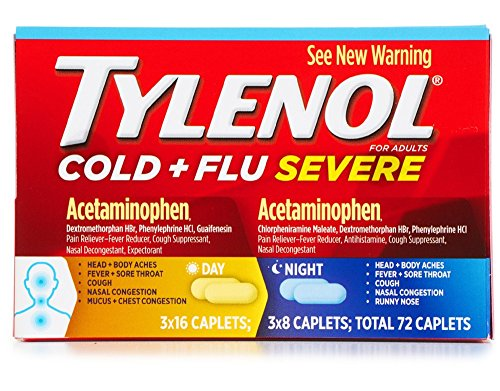 Tylenol Cold and Flu Severe Day and Night - 3 pack (Total 72 Caplets)