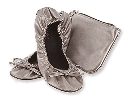 Pictures of Sidekicks Women's Foldable Ballet Flats with Carrying Case Silver Large 5