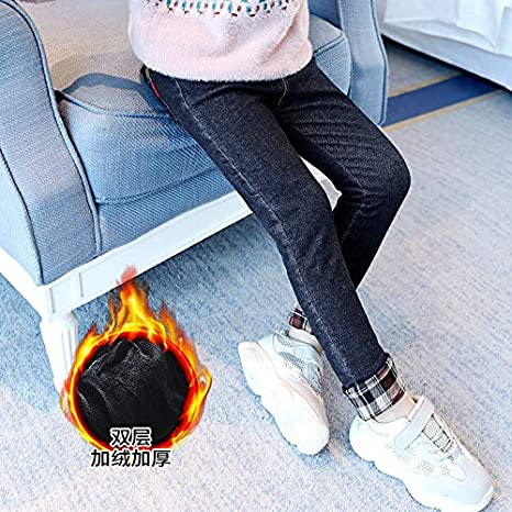 MV Girls Winter Thickening Velvet Stretch Feet Pants Boots Slim Jeans Leggings