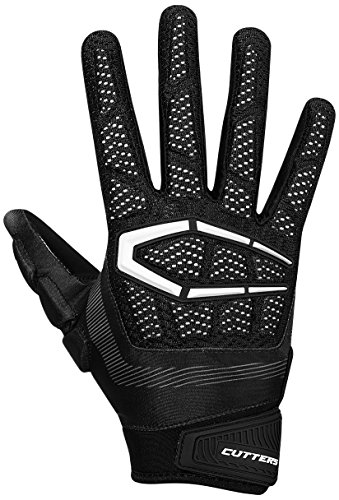 Cutters Gloves S652 Gamer 3.0 Padded Receiver Gloves, Black, Medium Cutters Football Receiver Glove