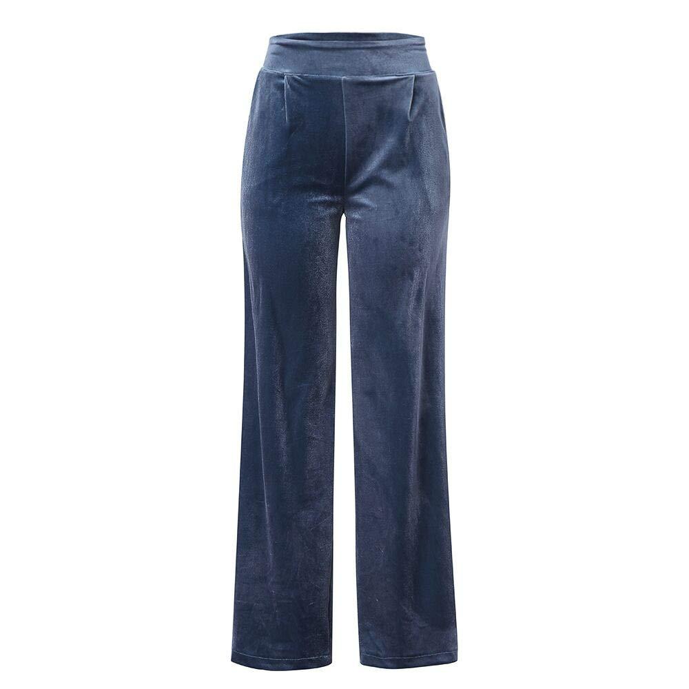 df9461637e Pantalones Rectos Largo para Mujer Invierno Otoño Tallas Grandes PAOLIAN  Pantalón de Vestir Yoga Terciopelo Cintura Elástica Alta Negro Holgado  Elegante ...