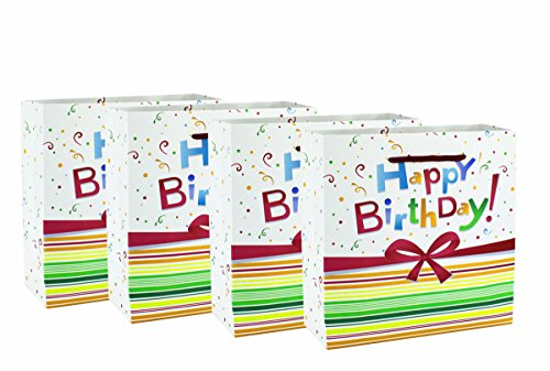 Happy Birthday Gift Bag 12 pcs Set of 12 Reuseable Paper Bag Medium Size Party Gift Bags Cute Kids Pink Blue Cardboard Bag First 1st Birthday Bday Party Goody Bag( - Mouse Mickey Cardboard