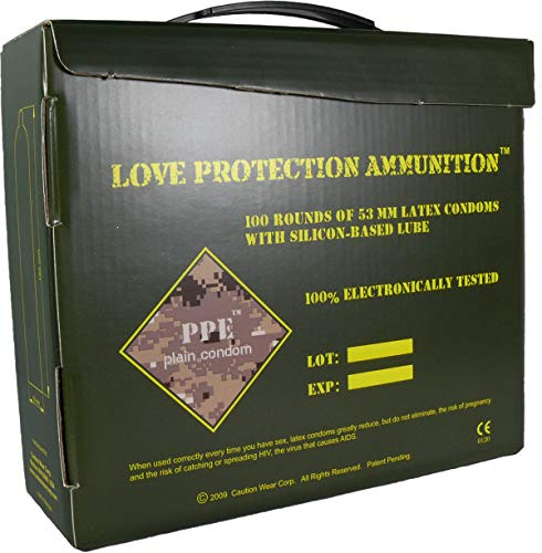 L.A.Confidential Love Protection Ammo Box Ribbed Studded Contoured Lubricated Latex Condom - 100 pcs.