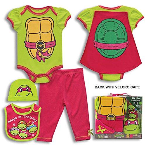 5 Piece Baby Teenage Mutant Ninja Turtles Layette Clothing Pant Gift Set 0-6 Months (Girl Pink)