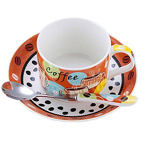 ORANGE Modern Coffe Cup English Style Tea Mug Set With Plate&Spoon