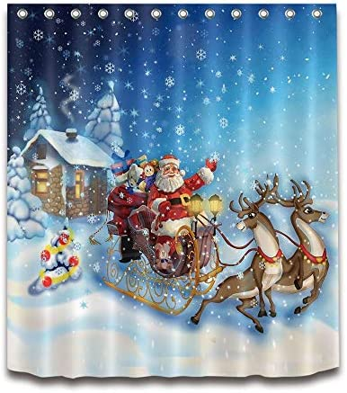 dsgrdhrty Babbo Natale con Slitta di Renne Tenda da Doccia Impermeabile da Bagno Antibatterica indossabile e Lavabile