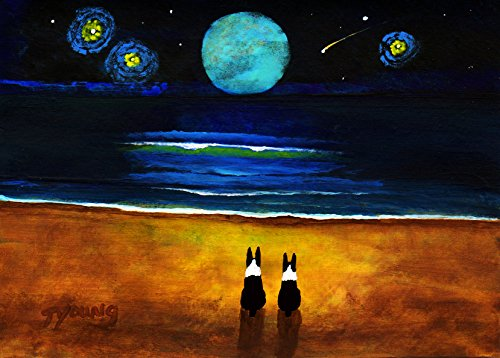 Boston Terrier Dog Art print by Todd Young MAGICAL NIGHT