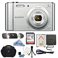 Sony W800/S DSC-W800/S DSCW800S 20 MP Digital Camera 5x Optical Zoom (Silver) Bundle with 64GB SDHC Memory Card, Table top Tripod, Deluxe Case, and Lens Cleaning Cloth from Accessory Zone