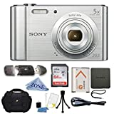 : Sony W800/S DSC-W800/S DSCW800S 20 MP Digital Camera 5x Optical Zoom (Silver) Bundle with 64GB SDHC Memory Card, Table top Tripod, Deluxe Case, and Lens Cleaning Cloth