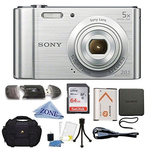 DSC- DSCW800S 20 MP Digital Camera 5x Optical Zoom (Silver) Bundle with 64GB SDHC Memory Card, Table top Tripod, Deluxe Case, and Lens Cleaning Cloth - Sony W800/S