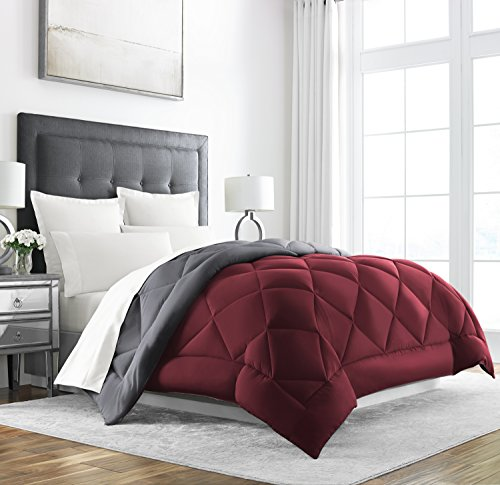 Sleep Restoration Goose Down Alternative Comforter - Reversible - All Season Hotel Quality Luxury Hypoallergenic Comforter -King/Cal King - Burgundy/Grey (Set Comforter Reversible Luxury)