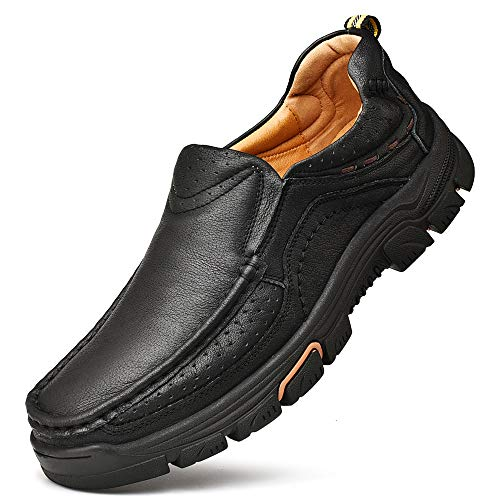 VENSHINE Mens Loafers Slip On Casual Leather Walking Shoes Black