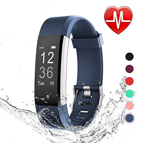 LETSCOM Fitness Tracker HR, Heart Rate Monitor Watch, IP67 Waterproof Activity Tracker with Step Counter and Sleep Monitor, Pedometer Watch, Smart Wristband for Kids Women and Men (Sleep And Step Tracker)