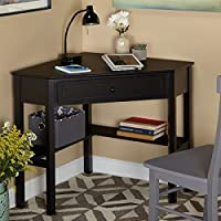 Wood Corner Casual Style Computer/Writing Desk, Sleek Design, Includes Drawer and shelves (Black)