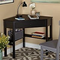 Wood Corner Casual Style Computer/Writing Desk, Sleek Design, Includes Drawer and shelves (Black)