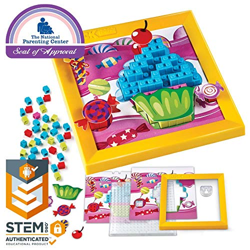 Brick Mates - Stack By Numbers - Cupcake - STEM Toy For Kids 5 & Up - 3D Puzzle - Educational Toy - Learning Activity