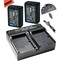 BM Premium 2 NP-FW50 Batteries and Dual Charger for Sony DSC-RX10 IV, DSC-RX10 III, DSC-RX10 II, DSC-RX10, Alpha 7, Alpha 7R, a7, a7R, A7s, A7s II, a3000, a5000, a6000, a6300, a6500 Digital Cameras