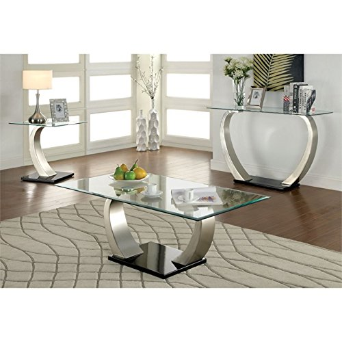 Furniture of America Navarre 3 Piece Coffee Table Set in Sat