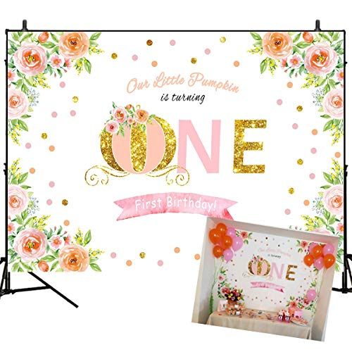 Mehofoto 1st Birthday Backdrop for Photography Little Pumpkin is Turning One Background 7x5ft Watercolor Flower Birthday Party Banner Glitter Gold Printed Photoshoot for Children Kids