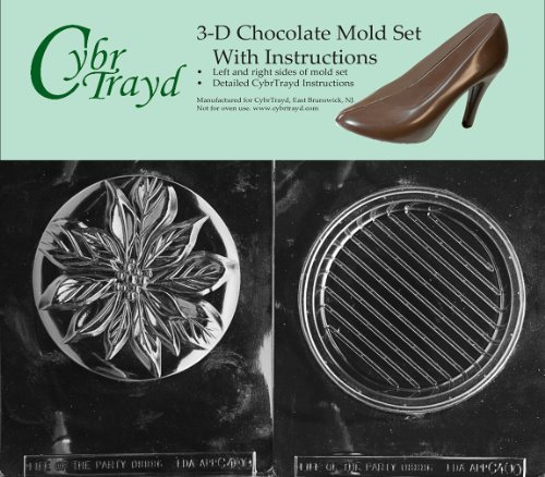 (Cybrtrayd C400AB Poinsetta Pour Box Life of the Party Chocolate Candy Mold Bundle with 2 Molds and Exclusive Cybrtrayd Copyrighted 3D Chocolate Molding Instruction)