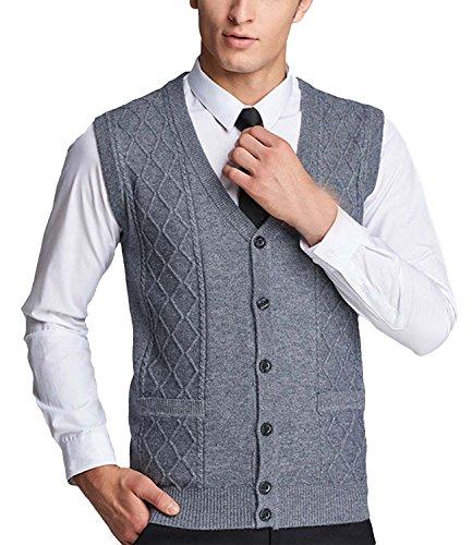 Nidicus Men Button Front V-neck Cardigan Cool Dri Slim Fit Sweater Vest Gray (Button Up Sweater Vest)