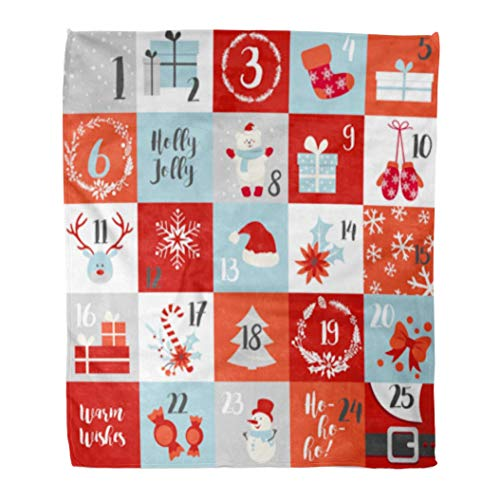 (Emvency Flannel Throw Blanket Christmas Advent Calendar Winter Holiday in Red Green White and Blue Snowman Snowflake Deer Mittens Sock Wreath 60x80 Inch Lightweight Cozy Plush Fluffy Warm Fuzzy Soft)