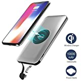 Wireless Charger Power Bank,Qi Power Bank,Wofalodata 10000mAh External Battery Support Qi Charging Pack with Built in Micro Cable and Lightning Adapter for iPhone X,iPhone 8,Samsung Galaxy S8/Note 8