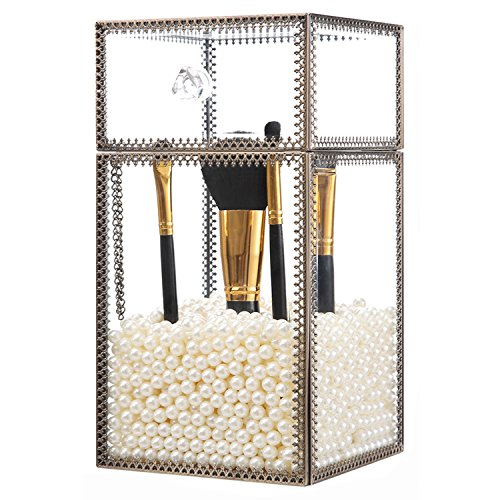 Holder Pearl - PuTwo Makeup Organizer Brush Holder Vintage Laced Style Make up Brush Holder with Free White Pearls - Large