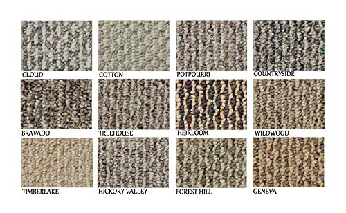 3 x5 – Heirloom ECONOMICAL Solutions Starlight Collection 20.5 Oz. Scroll Loop Carpet Custom Area Rugs, Mats Runners. Durable Tight Weave, 12 Multi Colored Choices.