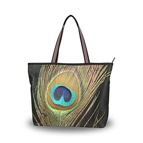 Lightweight Woven Tote (JSTEL Women Large Tote Top Handle Shoulder Bags Peacock Feather Patern Ladies Handbag M)