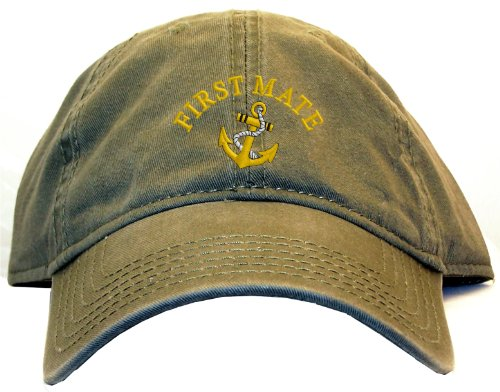 First Mate with Ships Anchor Embroidered Low Profile Ball Cap - Olive (Anchor Ball Cap)