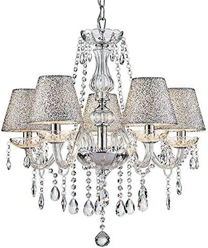 Saint Mossi Chrome K9 Crystal Chandelier Lighting LED Ceiling Light Fixture Pendant Lamp for Dining Room Bathroom Bedroom Livingroom 5 E12 LED Bulbs Required Height 26 x Width 24