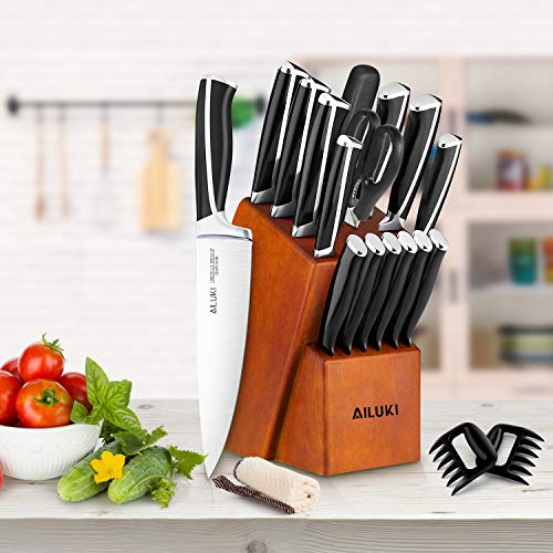 Knife Set, Kitchen Knife Set with Block, AILUKI 19 Pieces Stainless Steel Knife Set, Ergonomic Handle for Chef Knife Set with Gift Box, Ultra Sharp, Best Choice for Cooking by AILUKI (Image #6)