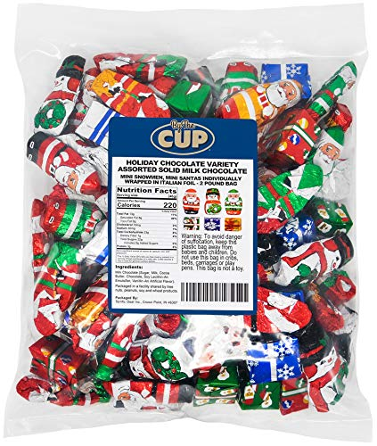 By The Cup Gourmet Solid Milk Chocolate Miniatures Christmas, 2 Pound Candy Mix Santas, Snowmen, and Presents