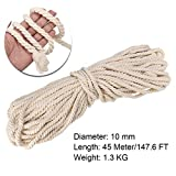 FINCOS Macrame Rope Natural Beige 10mm 45m Twisted Cord for Handmade Enthusiasts for Artisan DIY Hand Craft Cords Pure Cotton