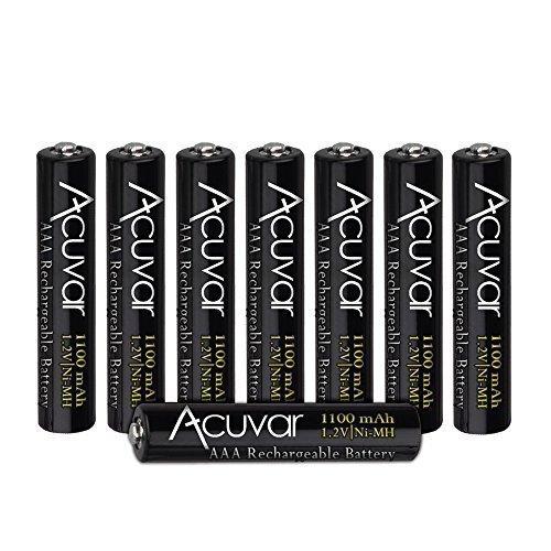 8 Acuvar High Capacity AAA Rechargeable Batteries 1100mAh NiMH