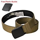Coyote Brown Nylon Belt with Hidden Money Pocket, Travel Money Belt Wallet Pouch with Alloy Metal Buckle