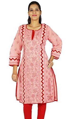 Diseñador indio Chikan regalo de las mujeres vestido étnico Kurti Casual Túnica bordada para ella Salmón