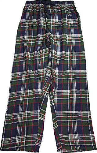 IZOD Men's Woven Flannel Sleep Pant, Navy Green/Red Plaid, Large