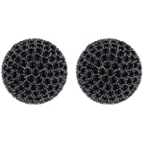 Mecresh 12mm Vintage Hollow Out Black Cubic Zirconia Pave Crystal Ball Stud Earrings Cluster Round Cut Fashion Earrings for Women Girls