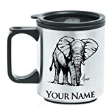 Coffee Travel Mug - African Elephant - Personalized Engraving Included